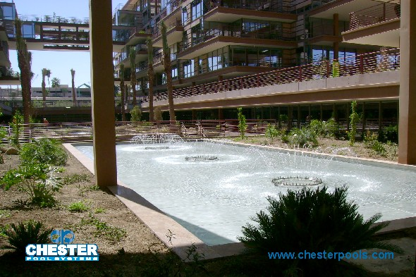 Site Pool with Fountains